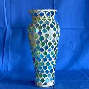 Blue and green mosaic glass vase